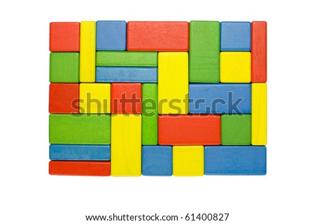 Stability symbol - a rectangular shape colorful background in red, yellow, green and blue created of wooden toy blocks. - stock photo
