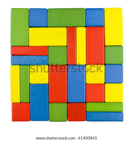 Stability symbol - a square shape colorful background in red, yellow, green and blue created of wooden toy blocks. - stock photo