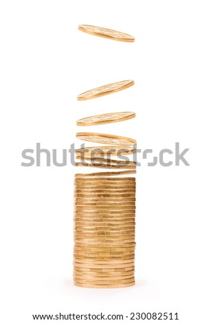 stack and coins falling from above isolated on white - stock photo
