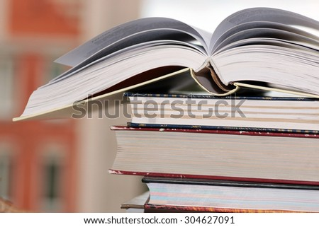 stack book background education - stock photo