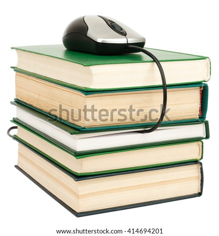 Stack books and mouse. Isolated. E-learning concept - stock photo