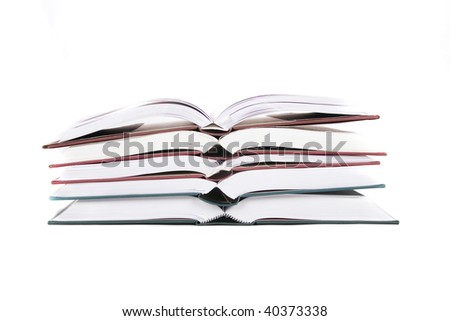 stack books on white isolated
