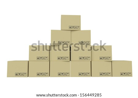 Stack Cardboard Boxes - stock photo