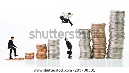 Stack coin up isolated with white background - stock photo