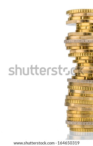 stack coins against white background. symbolic photo for taxes, fees and costs - stock photo