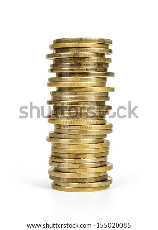 stack  coins  isolated on white
