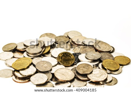 stack coins isolated on white background. - stock photo