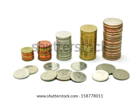 Stack coins on white background - stock photo