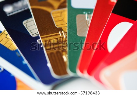 stack colorful plastic credit cards, closeup, selective focus