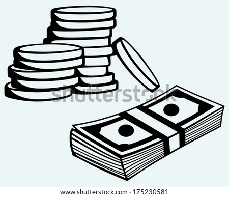 Stack dollars banknotes and coins isolated on blue background. Raster version - stock photo