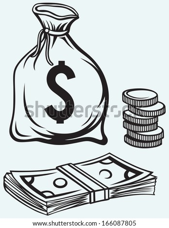 Stack dollars banknotes, moneybag and coins isolated on blue background. Raster version - stock photo