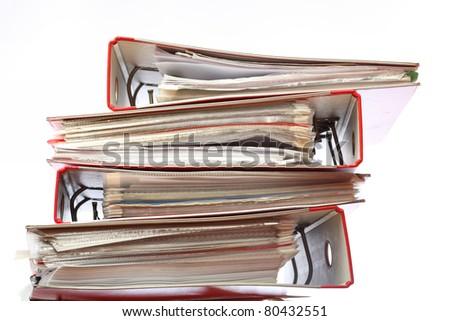 stack file Office folder on white background - stock photo