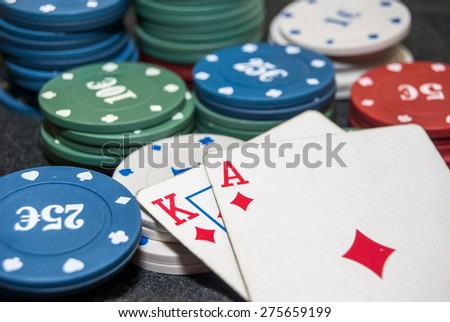 stack for poker chips, ace, king - stock photo