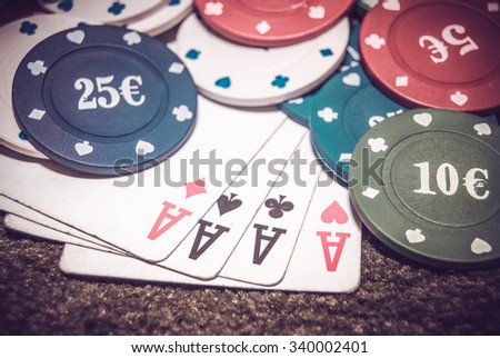 stack for poker chips, ace, king. tinted photo - stock photo