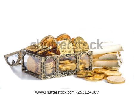 Stack golden coin growing up isolated with white background