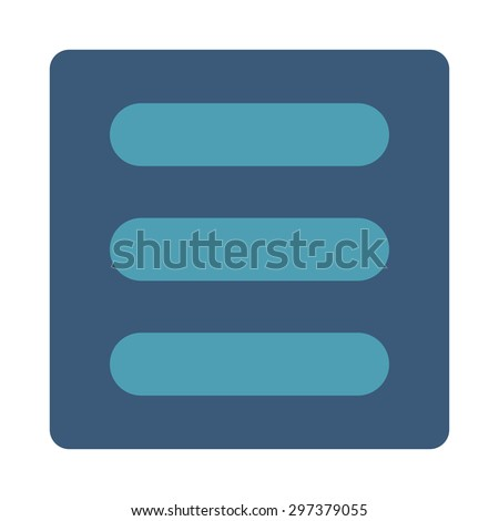 Stack icon from Primitive Buttons OverColor Set. This rounded square flat button is drawn with cyan and blue colors on a white background.