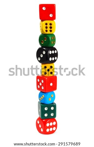 Stack made from dice isolated on white background - stock photo