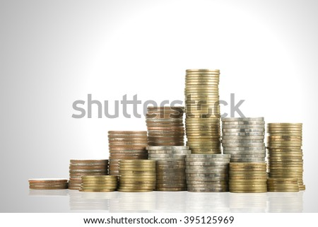Stack money coin for growing your business - stock photo