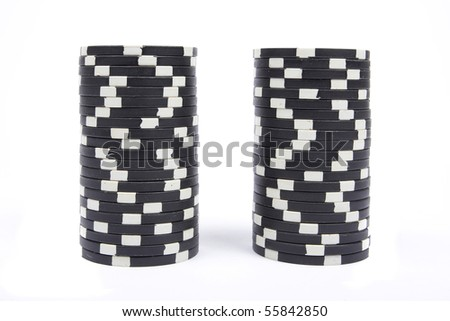 Stack of a black poker chips isolated on white background - stock photo