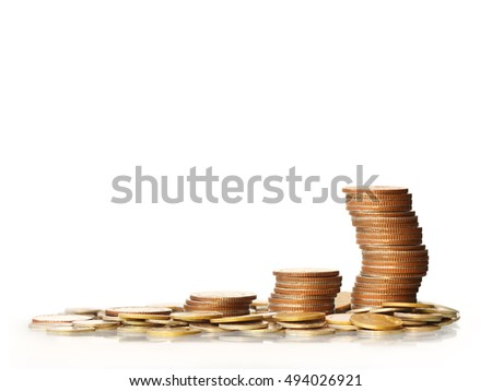 Stack of a golden coins isolated