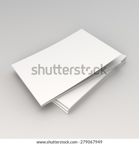 stack of A4 horizontal catalogs or magazines isolated