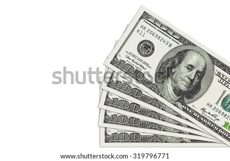 Stack of a hundred dollars bills isolated on white