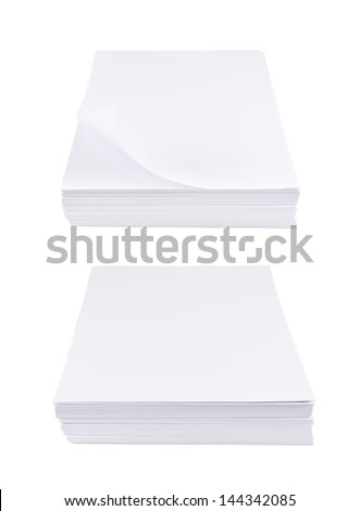 Stack of a4 size white paper sheet isolated over white background, set of two foreshortenings