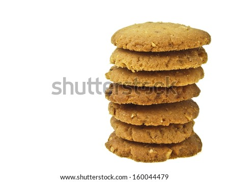 stack of almond cookie on white background
