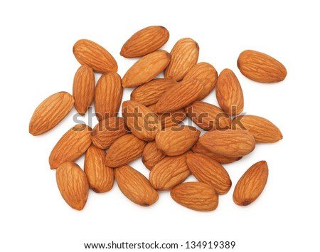 Stack of almonds isolated on white background - stock photo