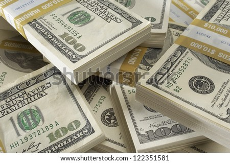 Stack of American dollars - stock photo
