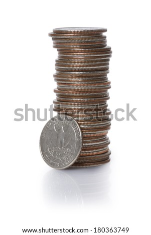 Stack of American Quarters on white background - stock photo