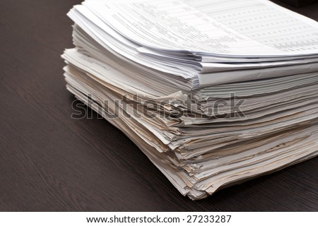 Stack of an accountance documents