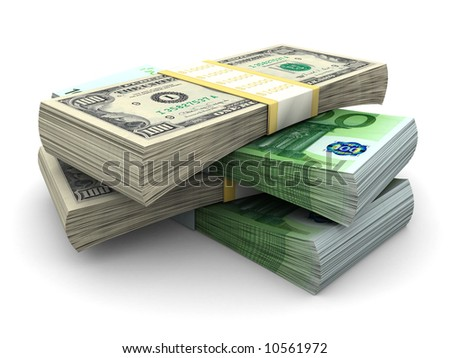 Stack of $100 and 100€ bills - stock photo