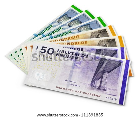 Stack of 200, 100 and 50 danish krone banknotes isolated on white background - stock photo