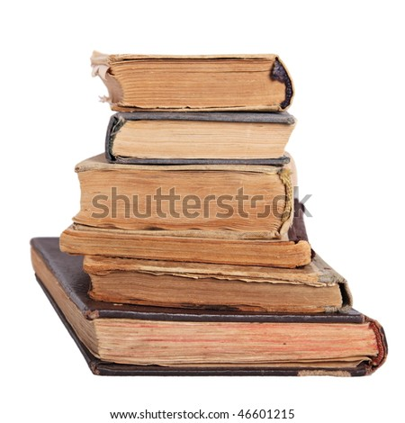 Stack of antique books isolated on white - stock photo