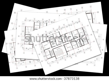 Stack of architectural plans on black  background - stock photo