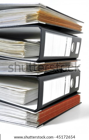 Stack of archive folders - stock photo