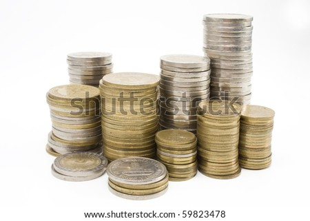 stack of Argentine coins over white background - stock photo