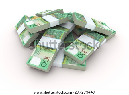 Stack of Australian Dollar bills. Isolated on white.