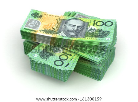 Stack of Australian Dollar (isolated with clipping path)