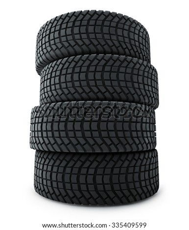 Stack of automobile winter tires isolated on white background. - stock photo