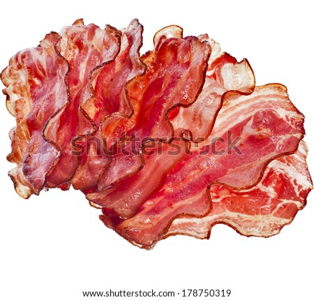 Stack of Bacon Fried Crisp Slices isolated On White Background - stock photo