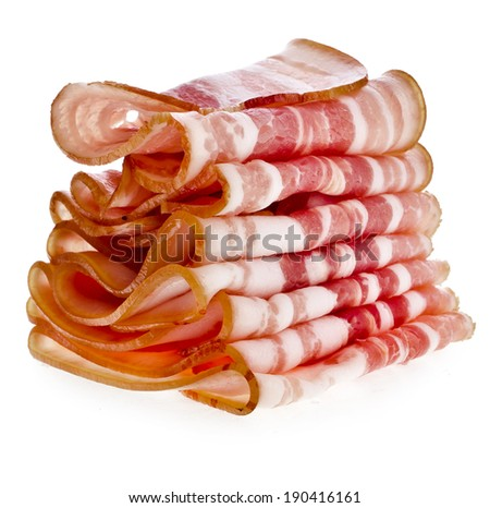 Stack of Bacon Slices isolated On White Background - stock photo
