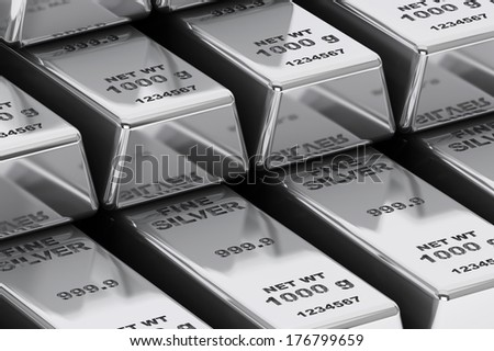 Stack of Bank Silver Bars extreme closeup - stock photo