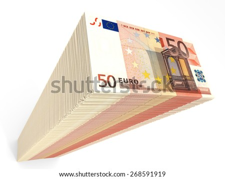 Stack of banknotes. Fifty euros. 3D illustration. - stock photo