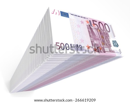 Stack of banknotes. Five hundred euros. 3D illustration. - stock photo