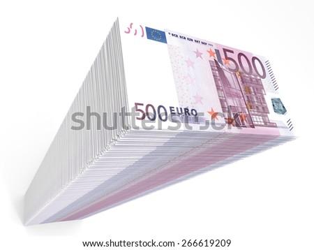 Stack of banknotes. Five hundred euros. 3D illustration. - stock photo