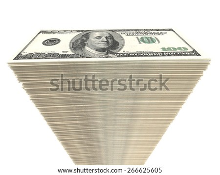 Stack of banknotes. One hundred dollars. 3D illustration. - stock photo