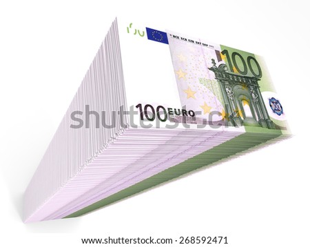 Stack of banknotes. One hundred euros. 3D illustration. - stock photo