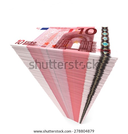 Stack of banknotes. Ten euros. 3D illustration. - stock photo